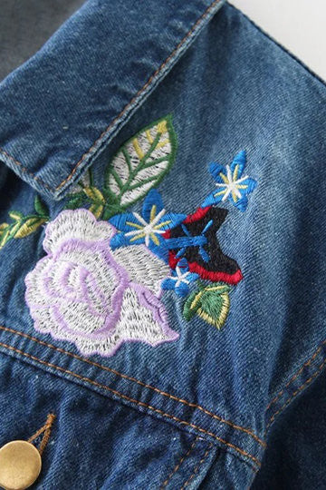 Blue Long Sleeves Floral Print Pattern Denim Jacket - girlyrose.com