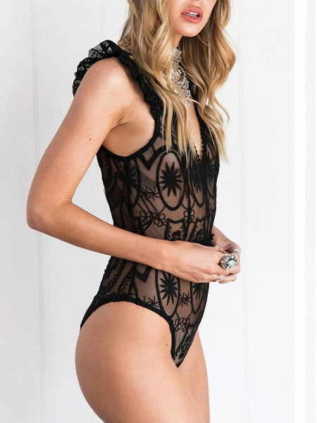 Sexy Ruched Lace Hollow Bodysuit Lingerie - girlyrose.com