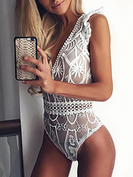 Sexy Ruched Lace Hollow Bodysuit Lingerie
