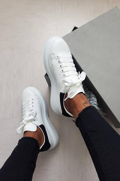 Lace Up White Sneakers - girlyrose.com