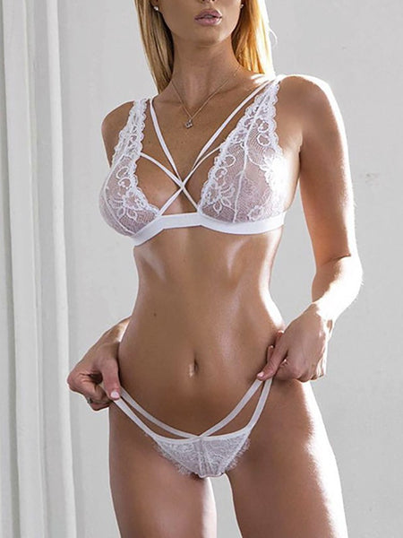 See Through Drawstring Lace Lingerie Set