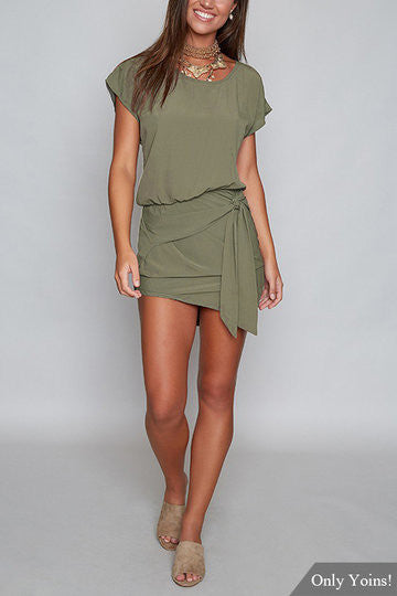 Round Neck Self-tie Design Mini Dress - girlyrose.com