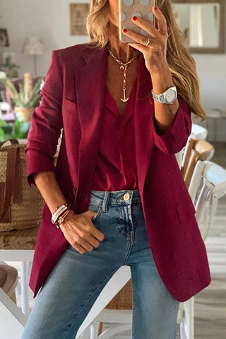 Button Wine Red Blazer - girlyrose.com
