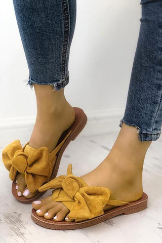 Casual Bow Thong Flat Sandals - girlyrose.com