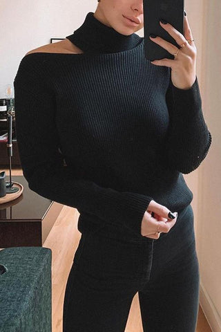 Cut Out High Collar Sweater - girlyrose.com