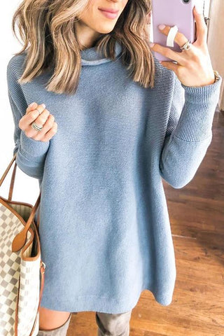 High Collar Mini Sweater Dress - girlyrose.com