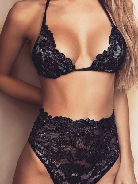 Women Sexy Halter High Waist Lace Tied Lingerie Set - girlyrose.com