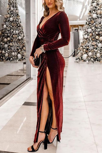 V Neck Slit Long Sleeve Velvet Dress - girlyrose.com
