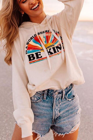 Be Kind Drawstring Hoodie - girlyrose.com