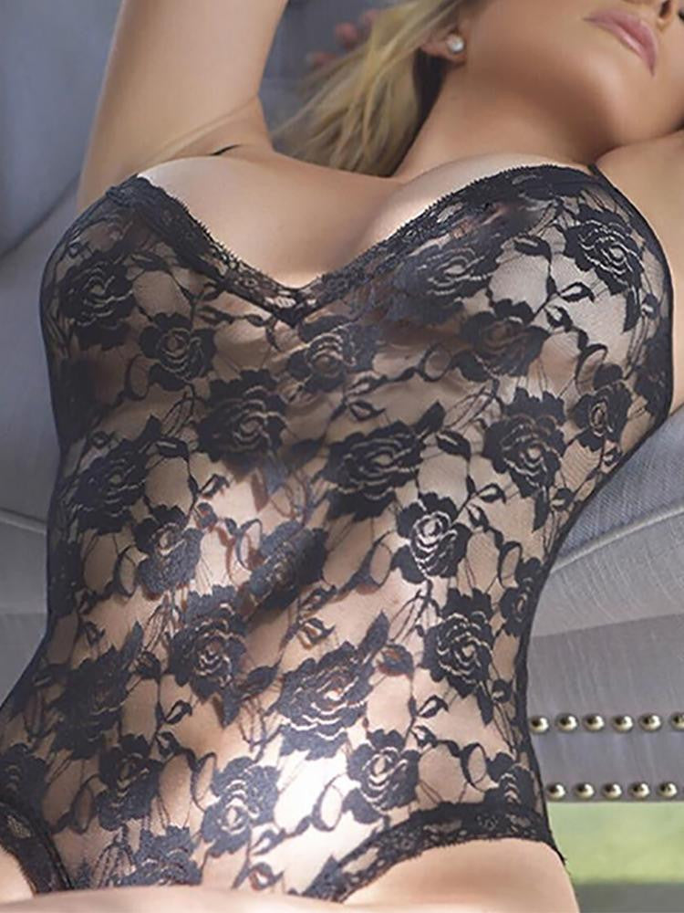 Alluring Lace Spaghetti Strap Hollow Lingerie - girlyrose.com