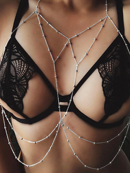 Alluring Sparkly Bead Caged Lingerie Body Chains - girlyrose.com