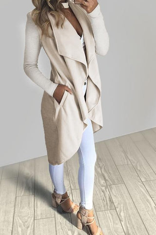 Solid Long Sleeve Trench Coat - girlyrose.com