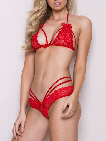 Red Sexy Lace Hollow-Out Bra Lingerie Set - girlyrose.com
