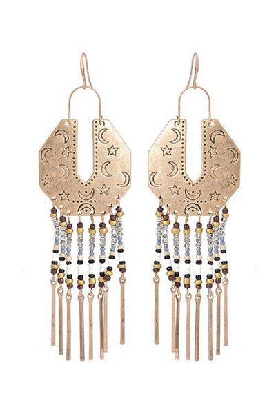 Beads Tassels Metal Earring - girlyrose.com