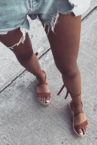 Lace Up Straw Wedges Sandals - girlyrose.com