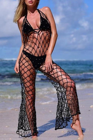 Beads Fishnet Crochet Cover Up - girlyrose.com