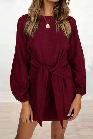 Knot Long Sleeve Mini Dress - girlyrose.com