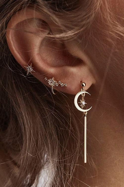 Crystal Star Moon Earrings - girlyrose.com