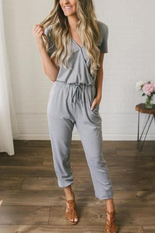 Short Sleeve Lace Up Jumpsuit - girlyrose.com