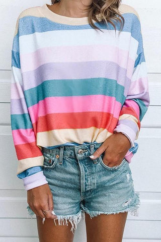 Rainbow Striped T Shirts - girlyrose.com