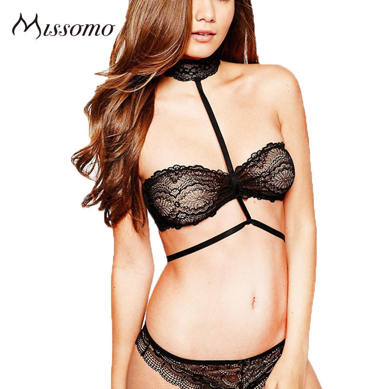 Black Sexy Lace Underwear Fitted Soft Bra Sets
