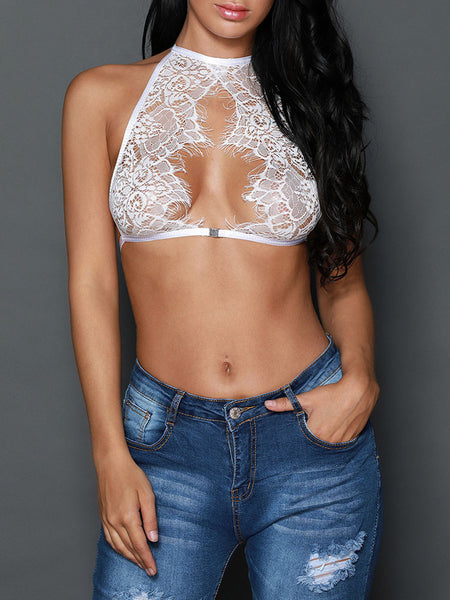 See Through Eyelash Lace Crop Top