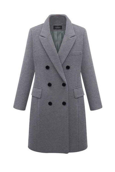 Double Breasted Woolen Coat - girlyrose.com