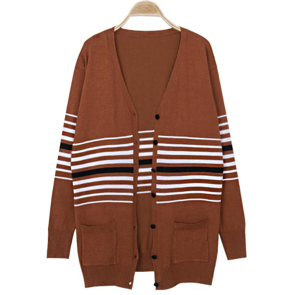 Casual Striped Cardigan