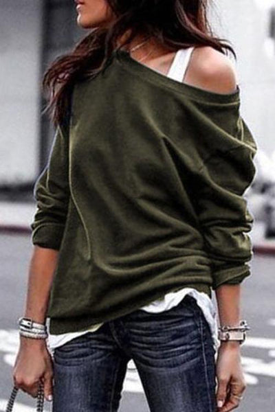 One Shoulder Long Sleeve Hoodie - girlyrose.com