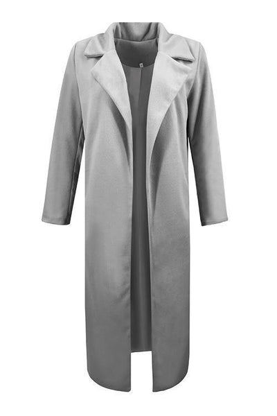 Pockets Lapel Woolen Trench Coat - girlyrose.com