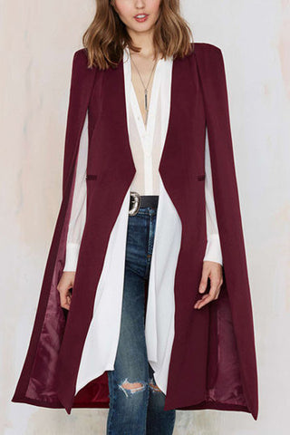 Burgundy Cape Design Longline Buttonless Blazer Coat - girlyrose.com