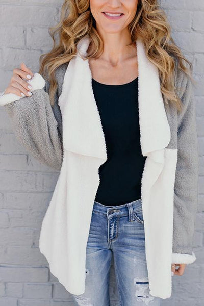 Color Block Fuzzy Lapel Coat - girlyrose.com