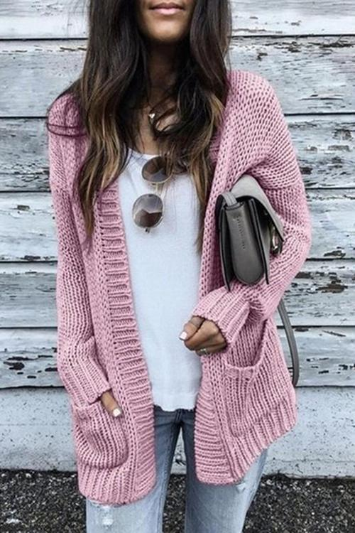 Pockets Long Sleeve Cardigan - girlyrose.com