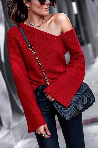 One Shoulder Logn Sleeve Sweater - girlyrose.com