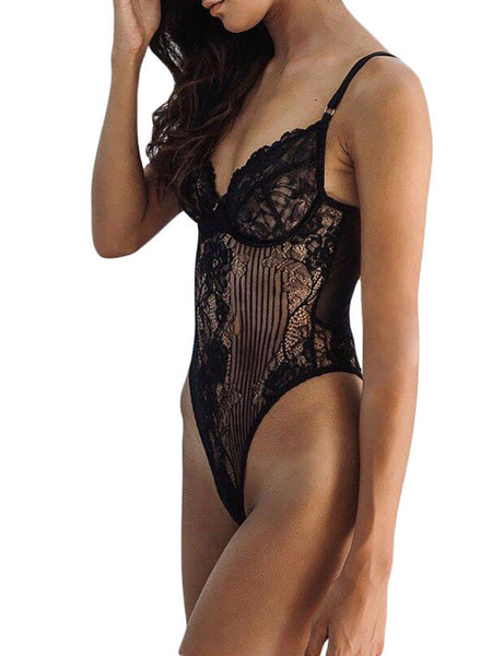 Sexy Strappy Scalloped Lace Teddy Lingerie