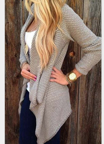 Asymmetric Casual Coat Open Knit Cardigan - girlyrose.com