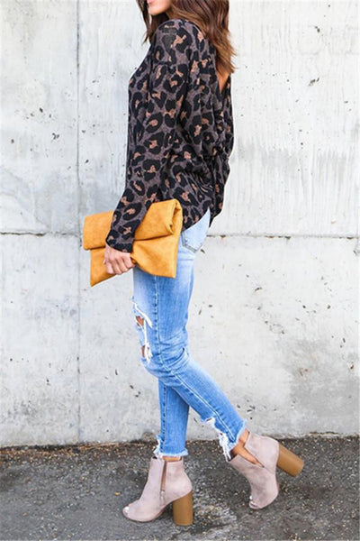 Back Cross Leopard Sweatshirt