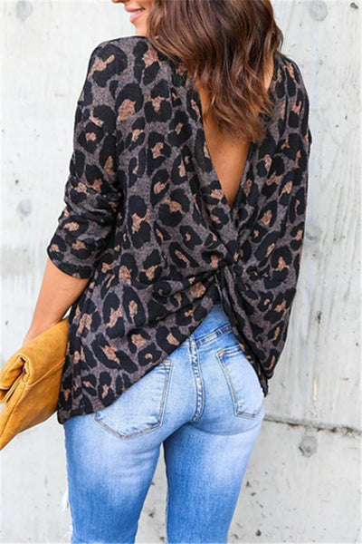 Back Cross Leopard Sweatshirt - girlyrose.com