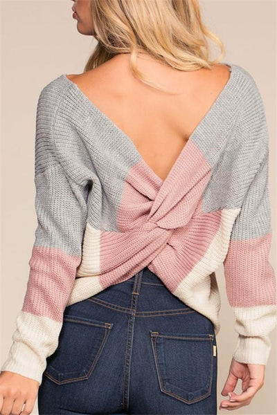 Back Cross Patchwork Sweater