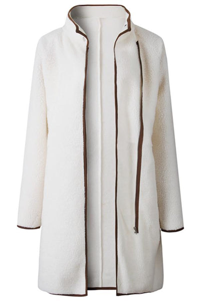 Beige Zipper Closure Active Coat