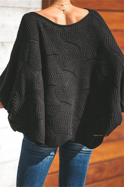 Bishop Sleeve Openwork Sweater
