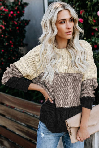 Black Color Block Netted Texture Pullover Sweater - girlyrose.com