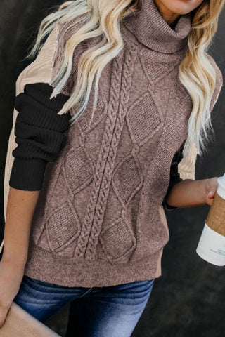 Black Colorblock Cable Knit Sweater - girlyrose.com