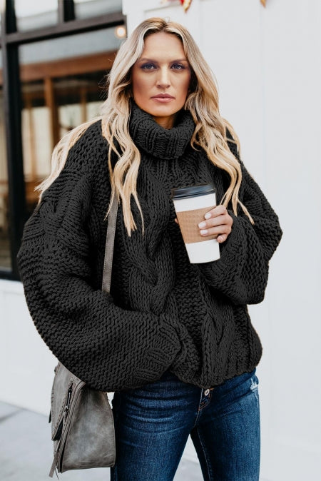 Black Cuddle Weather Cable Knit Handmade Turtleneck Sweater - girlyrose.com