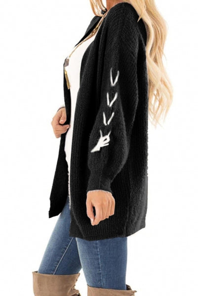 Black Soft Long Sleeve Cardigan with Stitch Detail