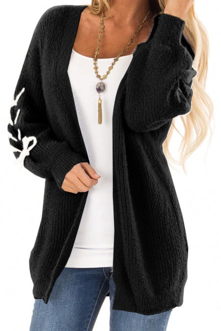 Black Soft Long Sleeve Cardigan with Stitch Detail - girlyrose.com
