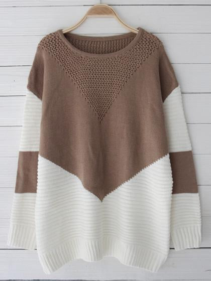 Boho Spliced O-Neck Long Sleeve Sweater - girlyrose.com