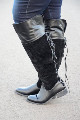 Lace up Over the Knee Wide Calf Boots - girlyrose.com