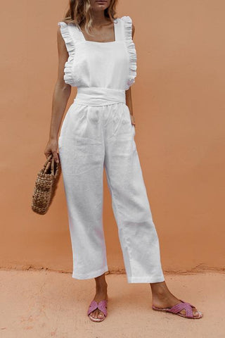 Bow Ruffled Backless Jumpsuit - girlyrose.com