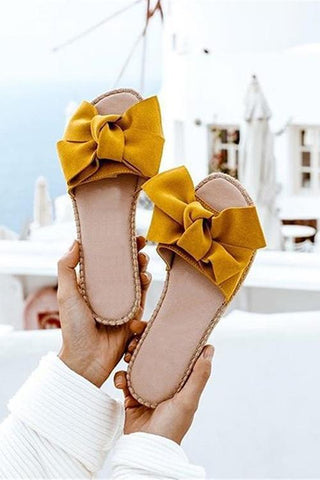 Bow Straw Slipper - girlyrose.com